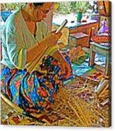 Woman Making Umbrella Ribs At Borsang Umbrella Factory In Chiang Mai-thailand Acrylic Print