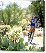 Woman Mountain Biking In Arizona Acrylic Print