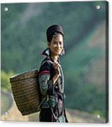 Woman Of Black Hmong Hill Tribe Next To Acrylic Print