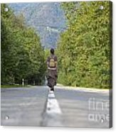 Woman On A Road Acrylic Print