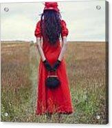Woman On Field Acrylic Print
