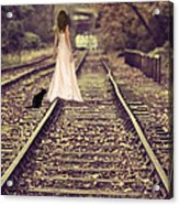 Woman On Railway Line Acrylic Print