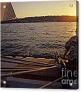 Woman On Sailboat Sunset Acrylic Print