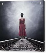 Woman On Tracks Acrylic Print