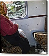 Woman On Train - Budapest Acrylic Print