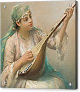 Woman Playing A String Instrument Acrylic Print