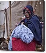 Woman Reenactor Sewing In A Civil War Camp Acrylic Print