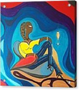 Woman Sitting In Chair Surrounded By Female Spirits Acrylic Print