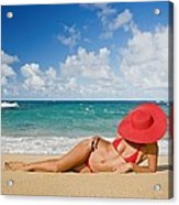Woman Sitting On The Beach Acrylic Print