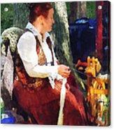 Woman Spinning Yarn At Flea Market Acrylic Print