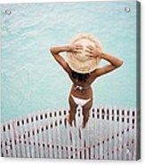 Woman Standing On Dock Acrylic Print