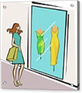 Woman Standing Outside A Clothing Store Acrylic Print