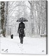Woman Walking In A Snowy Forest Acrylic Print