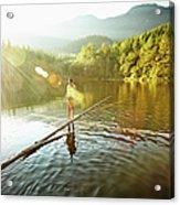 Woman Walking On Log In Alpine  Lake Acrylic Print