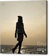 Woman Walking On The Lake Front Acrylic Print
