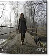 Woman Walking With Her Dog On A Bridge Acrylic Print