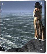 Woman Watching A Ship Sailing Away Acrylic Print