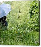 Woman With A Blue Umbrella Acrylic Print