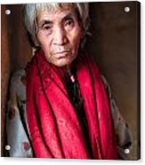 Woman With A Red Scarf Acrylic Print
