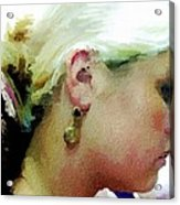 Woman With Antique Earrings Acrylic Print by Judy Paleologos