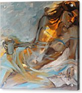 Woman With Book Acrylic Print by Nelya Shenklyarska