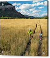 Woman With Daughter Riding Mountain Acrylic Print