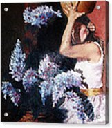 Woman With Flowers Acrylic Print
