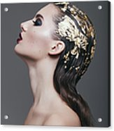 Woman With Foil Hairstyle Acrylic Print