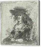 Woman With Hat, Print Maker Jan Chalon Acrylic Print