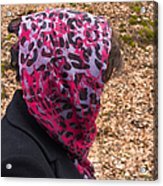 Woman With Headscarf In The Forest - Quirky And Surreal Acrylic Print