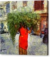 Woman With Ker Leaves India Rajasthan Jaisalmer Acrylic Print