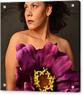 Woman With Purple Flower Acrylic Print by Timothy OLeary