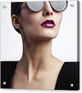 Woman With Trendy Eyewear Acrylic Print