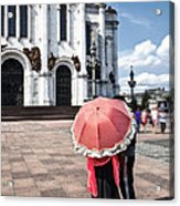 Woman With Umbrella - Moscow - Russia Acrylic Print