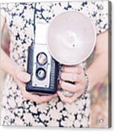 Woman With Vintage Camera Acrylic Print