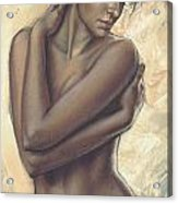 Woman With White Drape Crop Acrylic Print by Zorina Baldescu