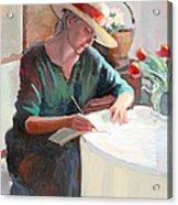 Woman Writing Acrylic Print