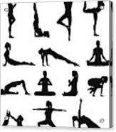 Woman yoga silhouettes Acrylic Print