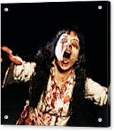 Woman zombie walks at night Acrylic Print