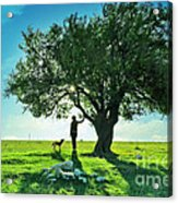 women and dog and Beautiful Greens Acrylic Print by Boon Mee