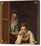 Women From Galicia At The Window Acrylic Print by Bartolome Esteban Murillo