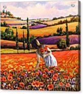 Women Gathering Poppies In Tuscan Acrylic Print