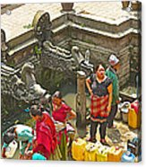 Women Get Bagmati River Holy Water From Ornate Fountains In Patan Durbar Square In Lalitpur-nepal  Acrylic Print