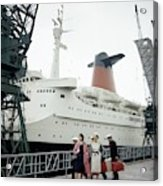 Women In Front Of The S.s. France Acrylic Print