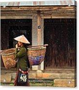 Women Market Walking On Street Acrylic Print