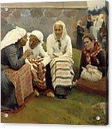 Women Outside The Church - Finland Acrylic Print