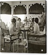 Women Playing A Card Game Acrylic Print