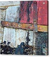 Wood And Metal Abstract Acrylic Print by Jill Battaglia