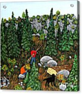 Woodcutters And Black Lab Acrylic Print
