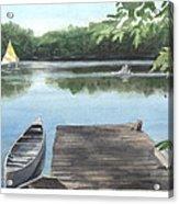 Wooded Lake Watercolor Portrait Acrylic Print